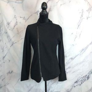 Eileen Fisher Black Merino Wool Asymmetric Jacket
